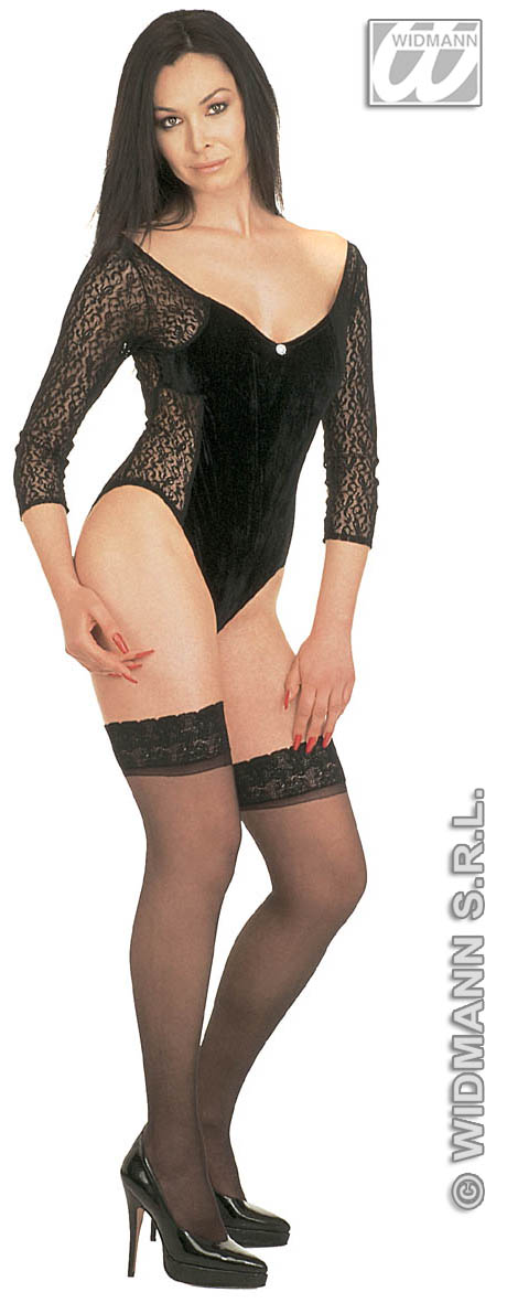 1153V Black Velvet/Lace Leotard