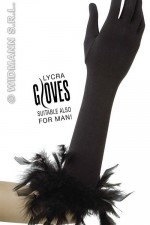 1446F Long Black Gloves With Feathers