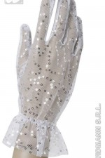 1469E Net White Gloves With Sequins