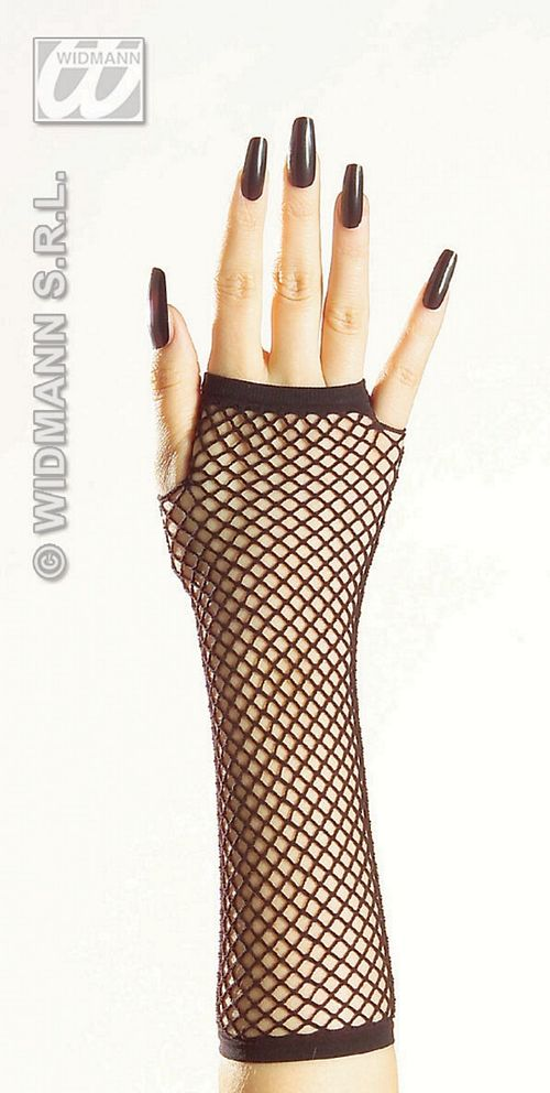 1475N Black Fingerless Fishnet Gloves