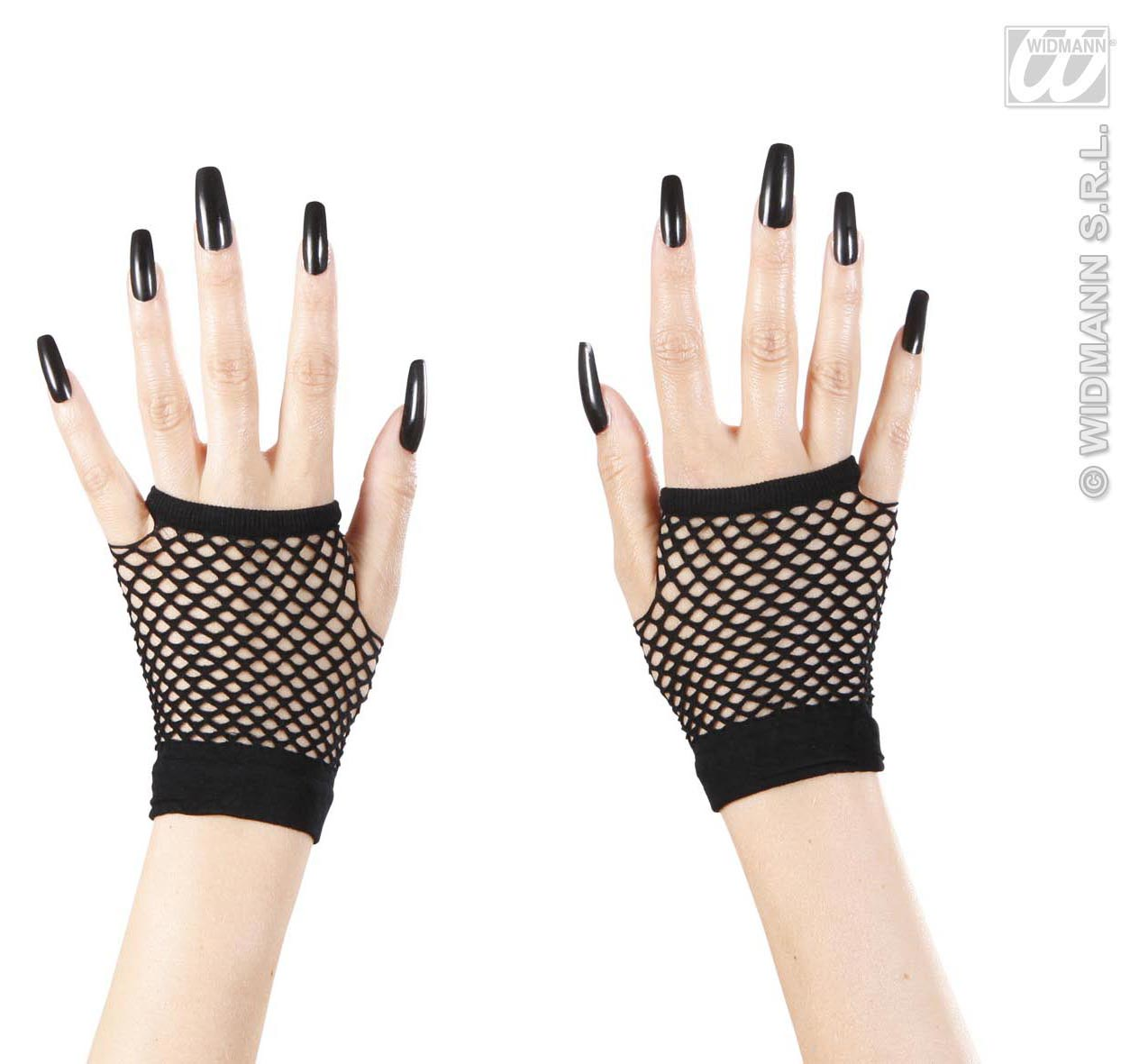 1487K Black Fingerless Fishnet Gloves