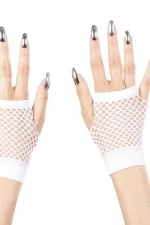 1488H White Fingerless Fishnet Gloves