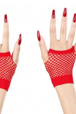 1489E Red Fingerless Fishnet Gloves