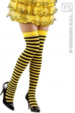 2074B Over knee socks yellow and black