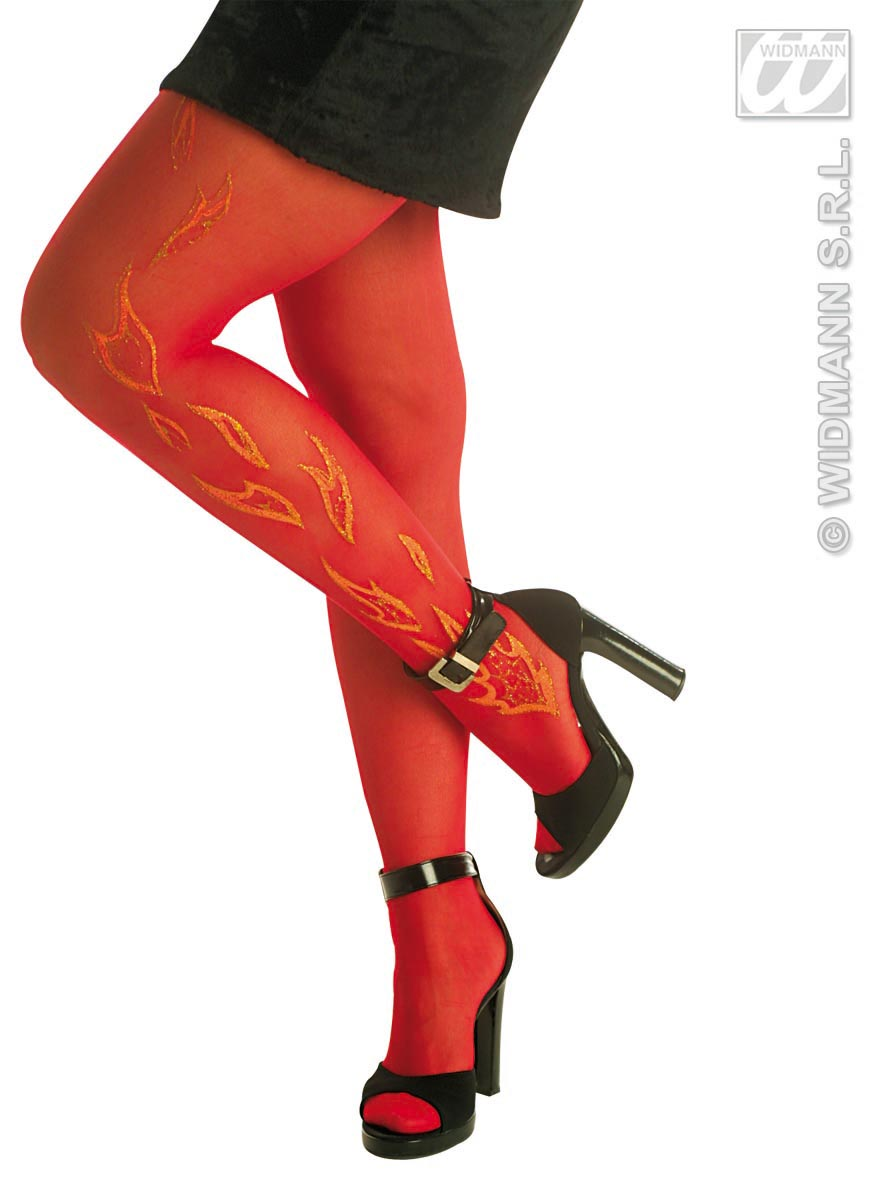 2117D/4761D Red Glitter Flames Tights