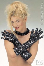 3427L Velvet Silver Dot Gloves
