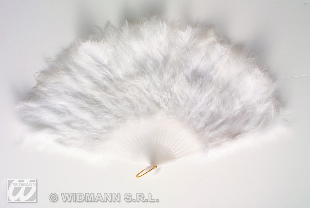 4715W White Feather Fan