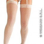 4777W White Fishnet Thigh Highs