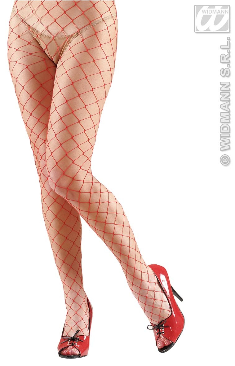 4847C Red Wide Fishnet Tights