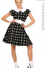 58291 50's Lady Black Polka Dot Dress