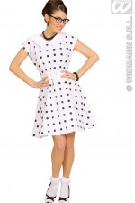 58301 50's Lady White Polka Dot Dress
