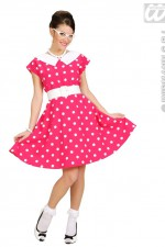 58311 50's Lady Pink Polka Dot Dress