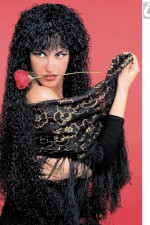 6069F Long Curly Black Wig