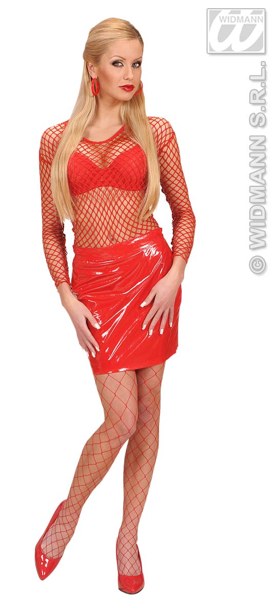 7081R Wide Red Fishnet Shirt