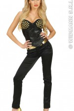 8044E Satin Black Studded Corset