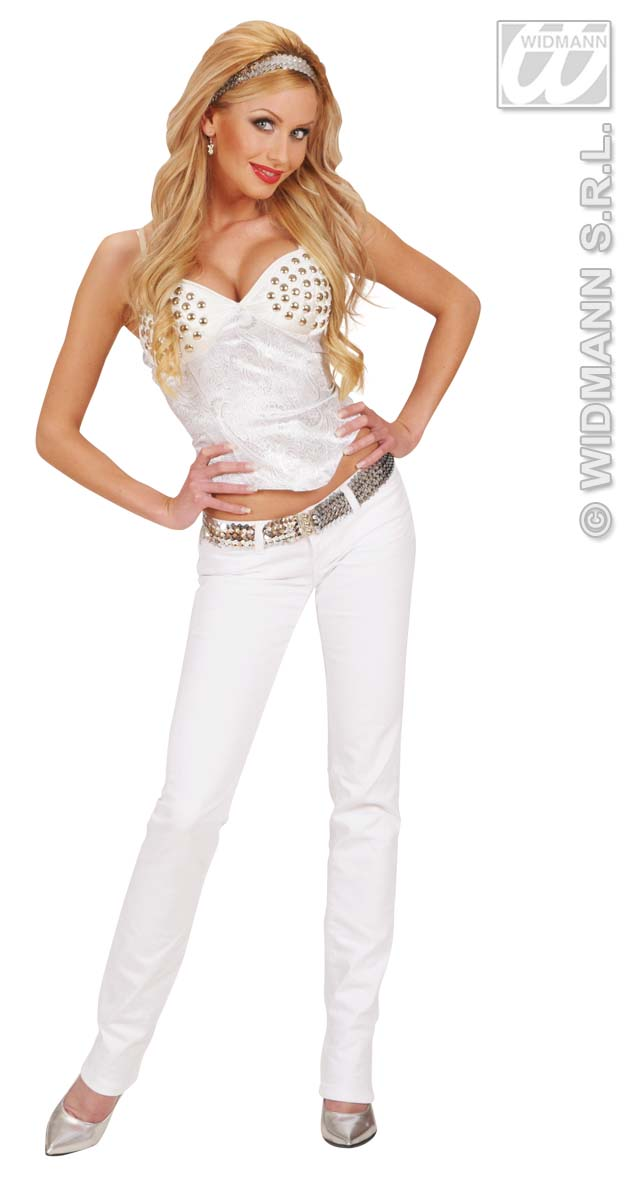 8045T Satin White Studded Corset
