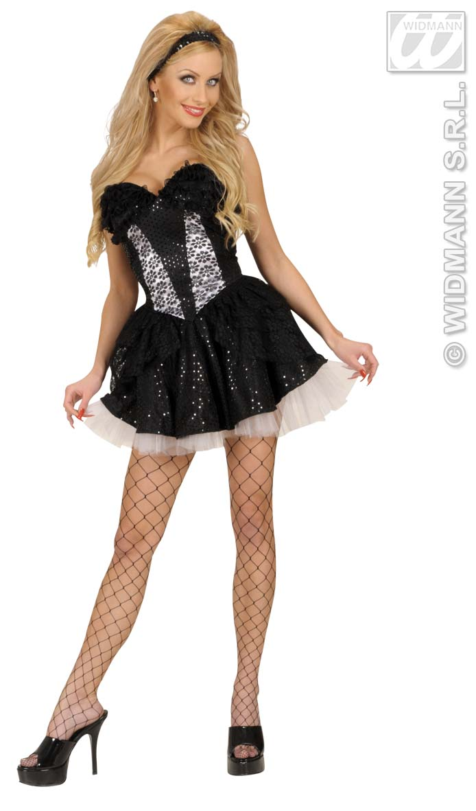 8054E Black Sequin & Lace Corset