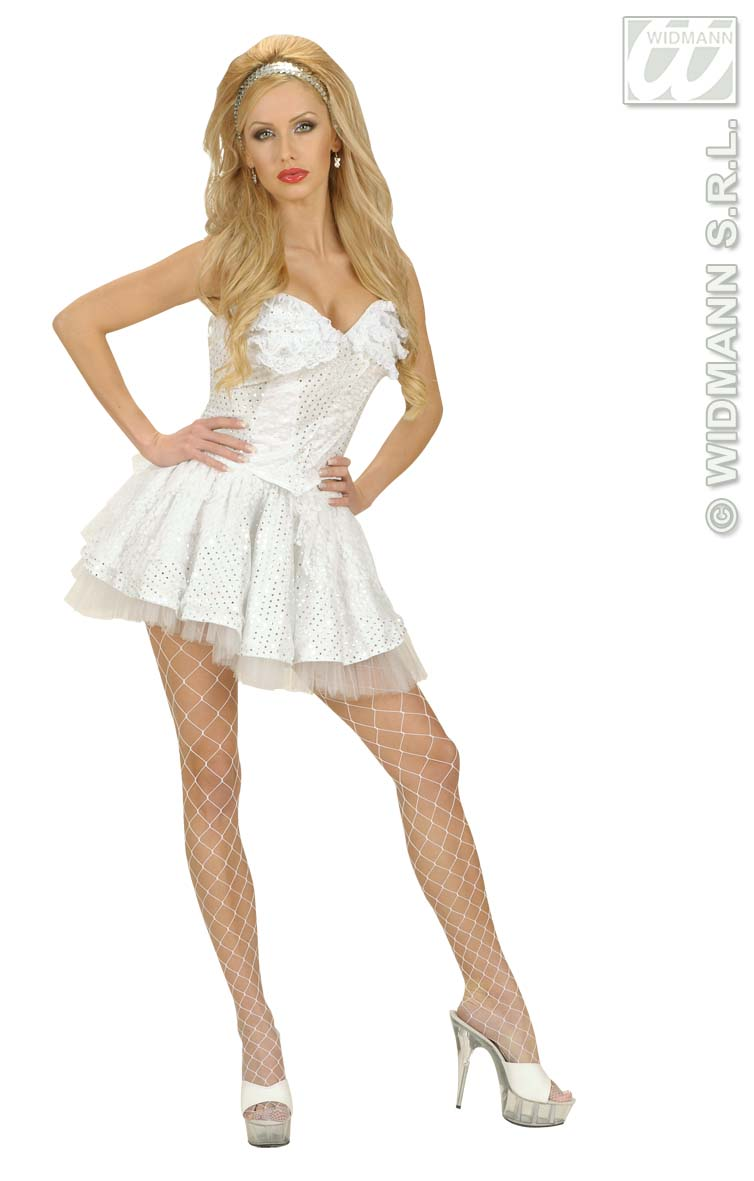 8055H White Sequin & Lace Corset