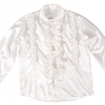 01168 Satin White Ruffle Shirt