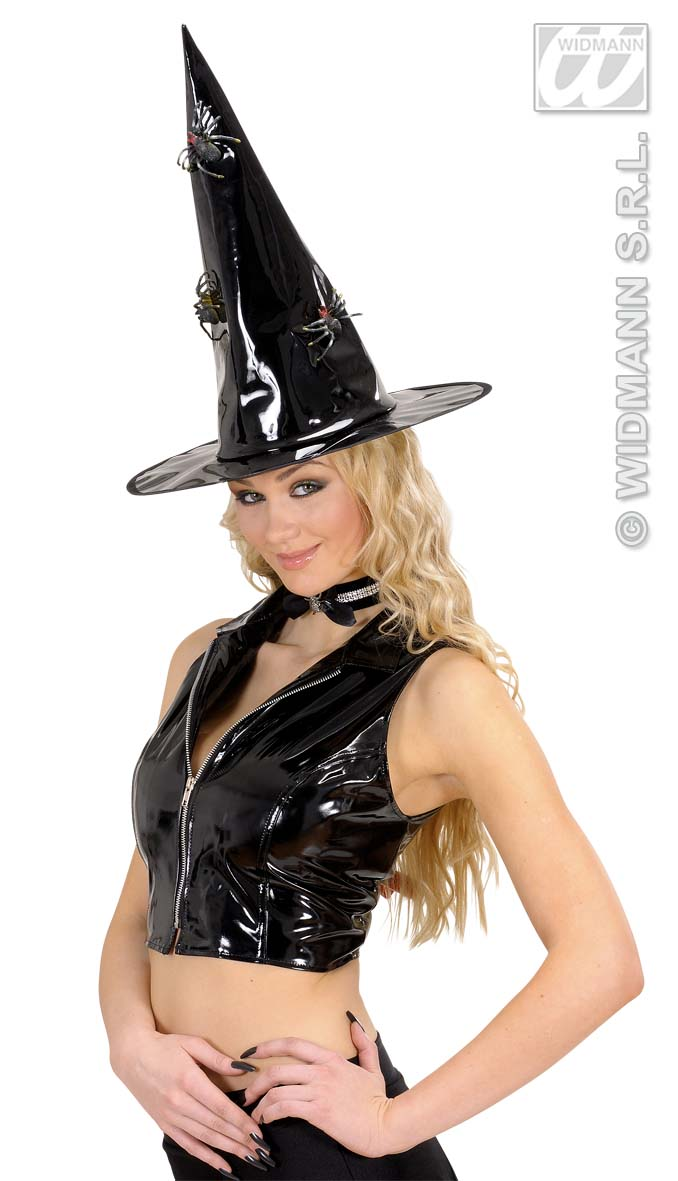 8553V Vinyl Witch Hat with Spiders