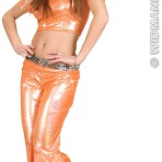 8571F Orange Holographic Sequin Top