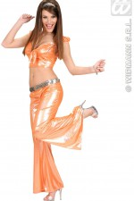 8577L Orange Sequin Ribbon Top