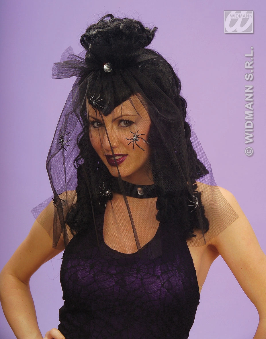 Q6336 Black Wig With Veil & Spiders