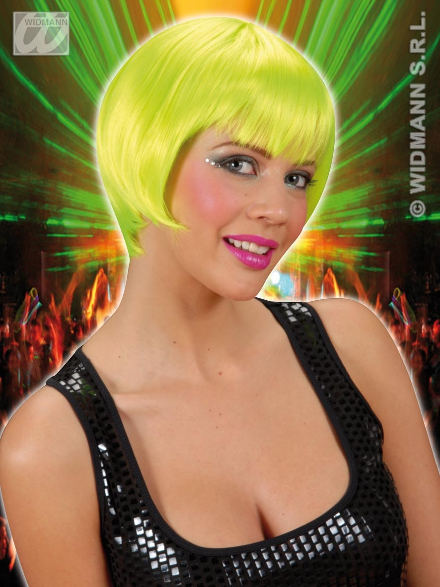 R0864 Neon Green Rave Wig