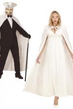 3487W White Velvet Hooded Cloak