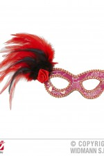 1788R Pink mask with feathers