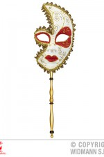 04727 Ornate half face mask on stick