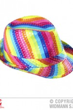 00810 Rainbow sequinned fedora