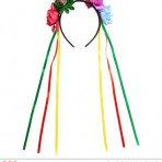 00088 Coloured Roses Headband with Skull & Multi-coloured Ribbons