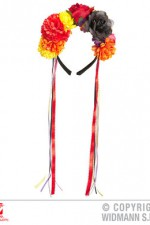 00089 Flower Headband with Multicolour Ribbons