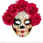 04785 Dia De Los Muertos Mask Decorated with Red Roses