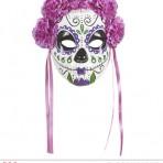 04786 Dia De Los Muertos Mask Decorated with Purple Roses & Ribbons