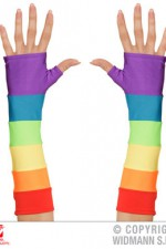 00597 Rainbow Fingerless Satin Gloves