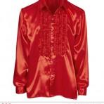 01173 Red Satin Ruffle Shirt