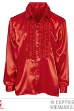 01173 Red Satin Ruffle Shirt