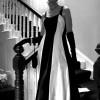 Elegant black and white evening dress