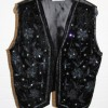 Black waistcoat with sequinned pattern