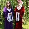 purple and red medi dresses