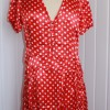 50's style Red spot satin dress